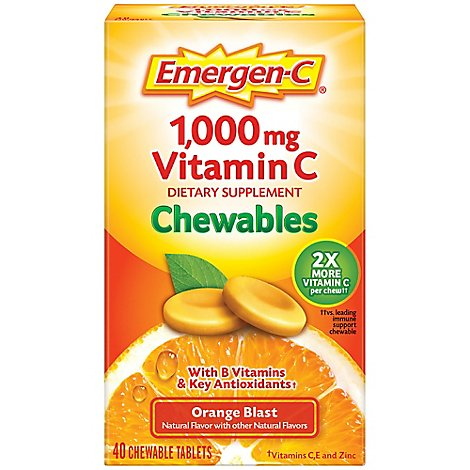 Emergen-C 1000 mg Vitamin C Orange Blast Chewables - 40 Count