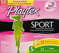 Playtex Sport Tampons Plastic Unscented Regular & Super Absorbency Multipack - 50 Count