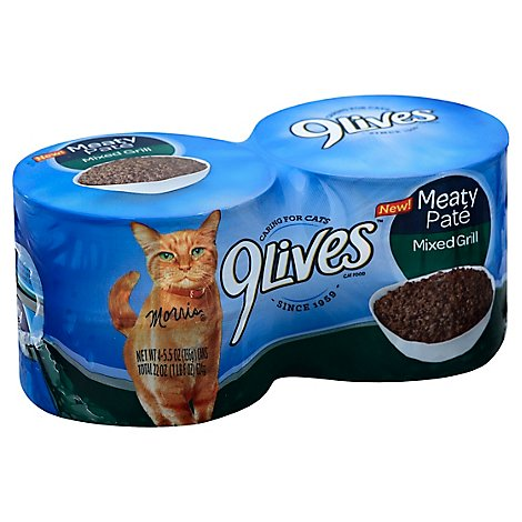 9Lives Mixed Grill Cat Food Wet Meaty Pate - 4 - 5.5 Oz