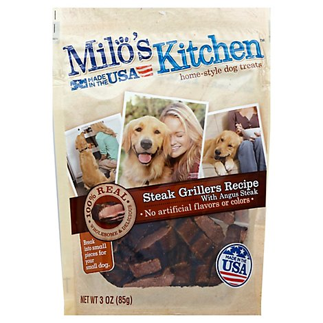 Milos Kitchen Dog Treats Home Style Steak Grillers Recipe With Angus Steak Pouch - 3 Oz