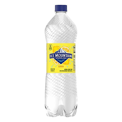 Ice Mountain 100% Natural Spring Water Sparkling Lively Lemon - 33.8 Fl. Oz.