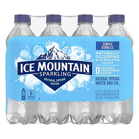 Ice Mountain 100% Natural Spring Water Sparkling Simply Bubbles - 8-16.9 Fl. Oz.