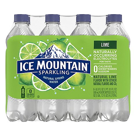 Ice Mountain 100% Natural Spring Water Sparkling Zesty Lime - 8-16.9 Fl. Oz.