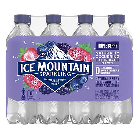 Ice Mountain 100% Natural Spring Water Sparkling Triple Berry - 8-16.9 Fl. Oz.