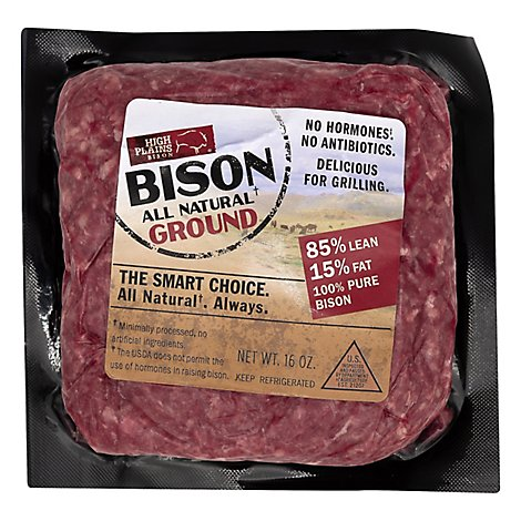 High Plains Bison Ground 85% Lean 15% Fat All Natural - 16 Oz