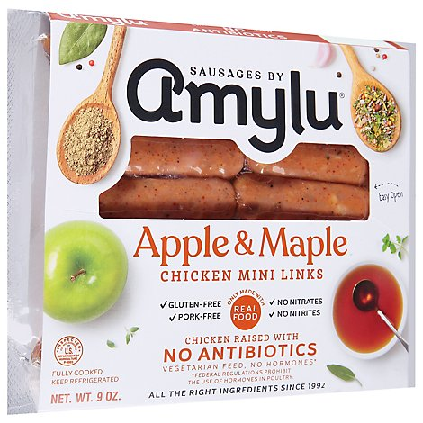 Sausages by Amylu Antibiotic Free Apple Maple Chicken Sausages - 9 Oz.