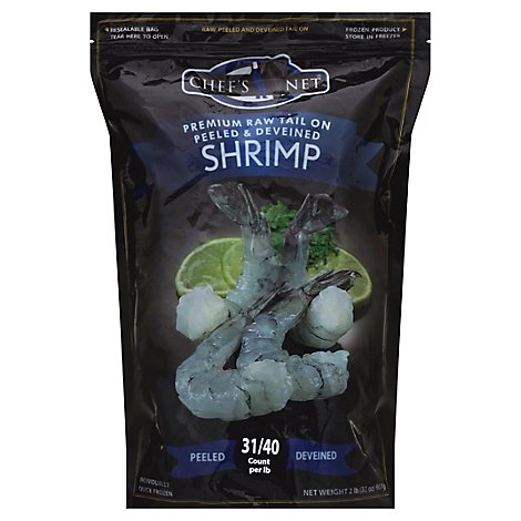 waterfront BISTRO Shrimp Raw Peeled & Deveined Tail On Large 31 To 40 Count - 32 Oz