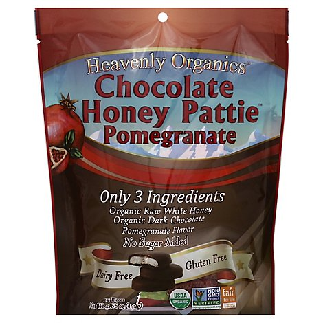 Heavenly Organics Pomegranate Chocolate Honey Patties - 4.66 Oz