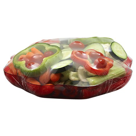 Vegetable Tray Red Round - Each