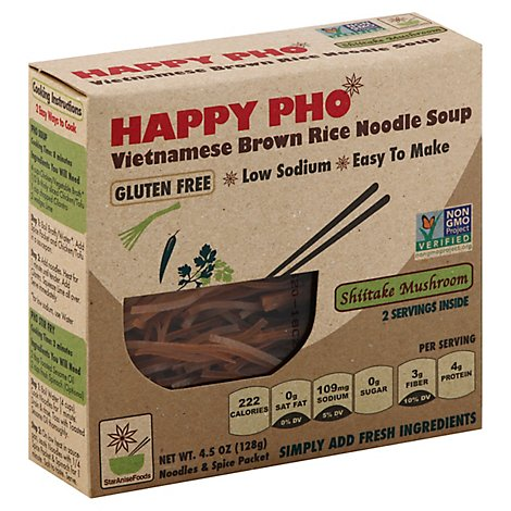 Star Anise Foods Happy Pho Noodle Soup Vietnamese Brown Rice Shiitake Mushroom Box - 4.5 Oz