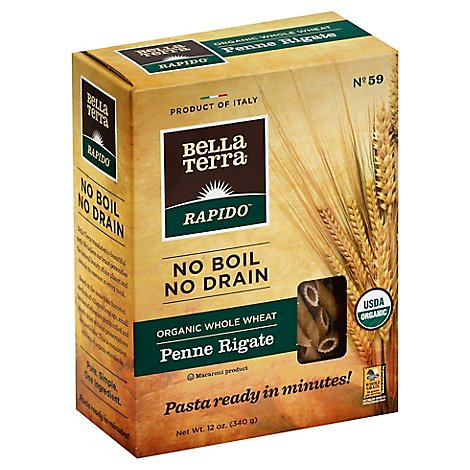 Bella Terra Rapido Pasta Organic Whole Wheat Penne Rigate Box - 12 Oz