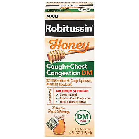 Robitussin Max Strength Honewy Cough & Chest Congestion Liquid - 4 Fl. Oz.