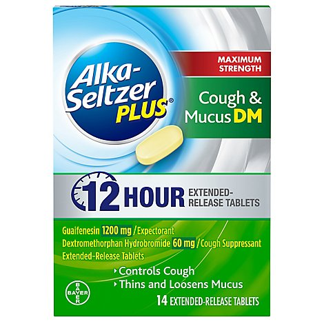 Alka Seltzer Max Strength Cough & Mucus Tablets - 14 Count