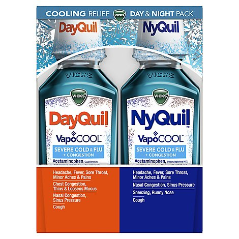 Vicks DayQuil NyQuil Medicine For Severe Cold Flu And Congestion VapoCOOL - 2-12 Fl. Oz.
