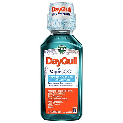 Vicks DayQuil Severe + VapoCool Cold & Flu Relief Liquid - 12 Fl. Oz.