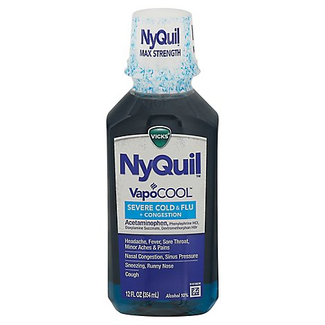 NyQuil SEVERE+ With Vicks VapoCOOL Nighttime Cough Cold & Flu Relief Liquid - 12 Fl. Oz.