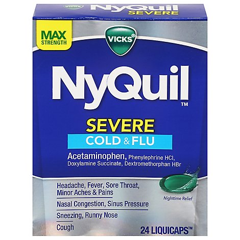 Vicks NyQuil Medicine Severe Cold & Flu Relief Nighttime Liquicaps - 24 Count