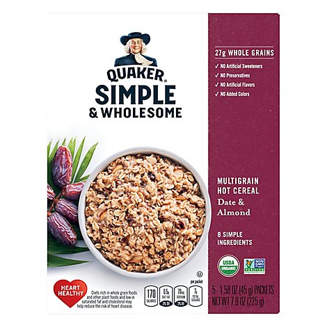 Quaker Instant Oatmeal Simple & Wholesome Date & Almond - 7.9 Oz