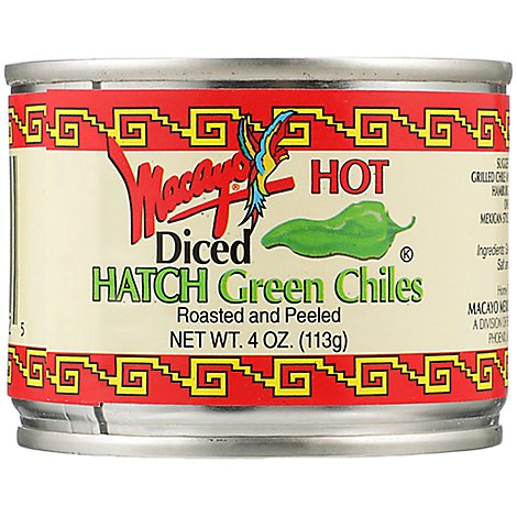 Macayo Hatch Green Chiles Roasted & Peeled Diced Hot - 4 Oz
