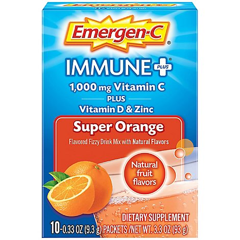 Emergen-C Immune Plus with Vitamin D Super Orange - 10-0.33Oz