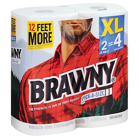 Brawny Paper Towel Pick-A-Size 2-Ply XL Rolls Wrapper - 2 Count