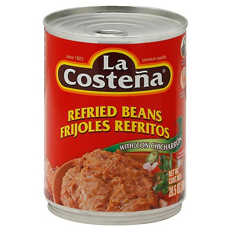 La Costena Beans Refried with Con Chicharron Can - 20.5 Oz