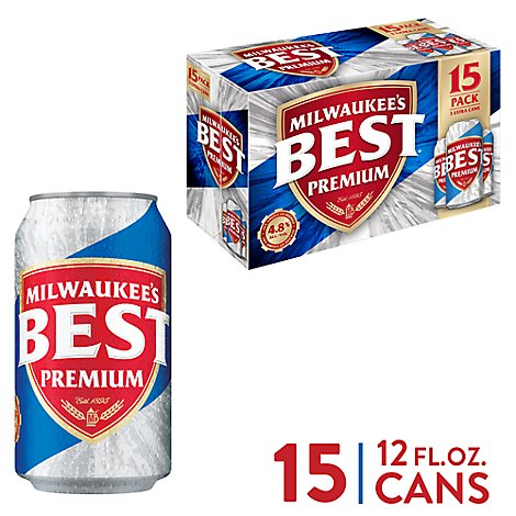 Milwaukees Best Premium Lager Beer Cans 4.8% ABV - 15-12 Fl. Oz.