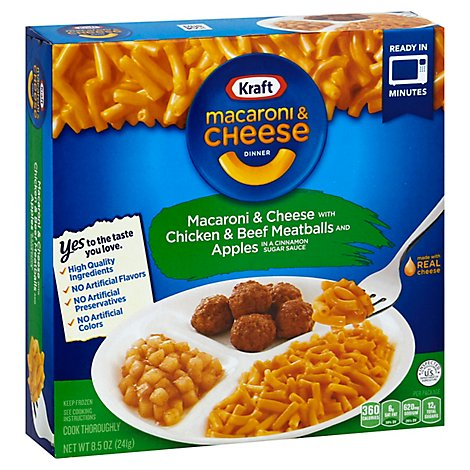 Kraft Fz Entrees Sides Mac N Cheese W Ck And Bf Meatballs & Apples - 8.5 Oz
