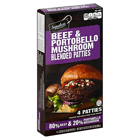 Signature Select Beef Patties Portobello Mushrooms - 22 Oz