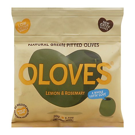 Oloves Olives Green Pitted with Lemon & Garlic Lemony Lover Pouch - 1.1 Oz