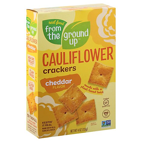 Earthly T Crackers Cauliflwr Cheddr - 4 Oz