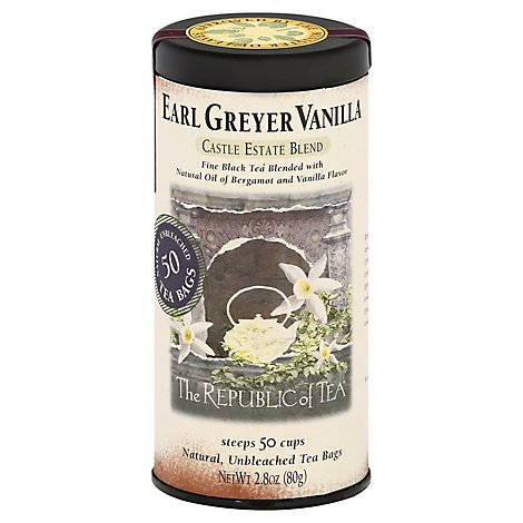 The Republic of Tea Black Tea Bags Castle Estate Blend Earl Greyer Vanilla - 50 Count