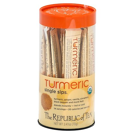 The Republic Of Tea Single Sips Turmeric Tea Pouches - 14 Count
