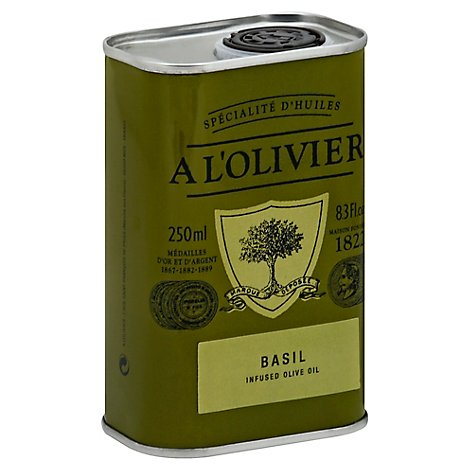 A LOlivier Olive Oil Extra Virgin Infused Basil Can - 8.3 Fl. Oz.