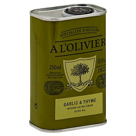 A LOlivier Olive Oil Extra Virgin Infused Garlic & Thyme Can - 8.3 Fl. Oz.