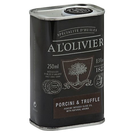 A LOlivier Olive Oil Extra Virgin Infused Porcini & Truffle Can - 8.3 Fl. Oz.