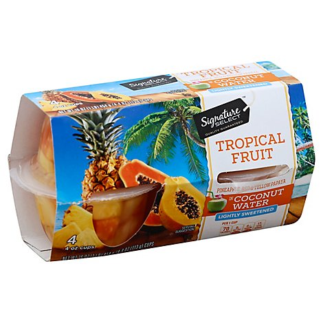 Signature SELECT Fruit Cups Tropical In Coconut Water - 4-4 Oz