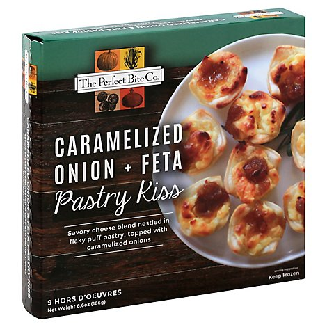 The Perfect Bite Co. Hors D Oeuvres Caramelized Onion + Feta Pastry Kiss 9 Count - 6.6 Oz