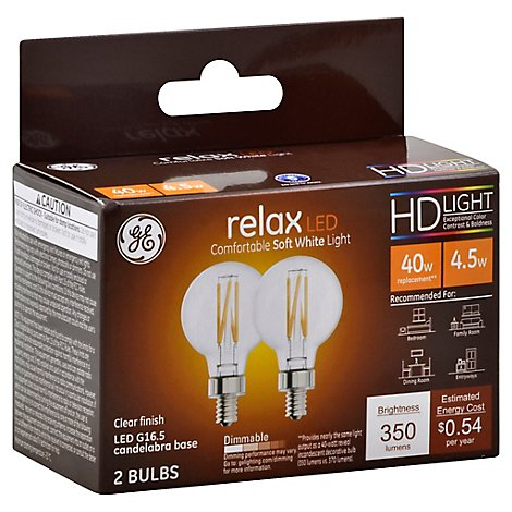 GE 40w Eq Hd Relax G16.5 Clear - 2 Count