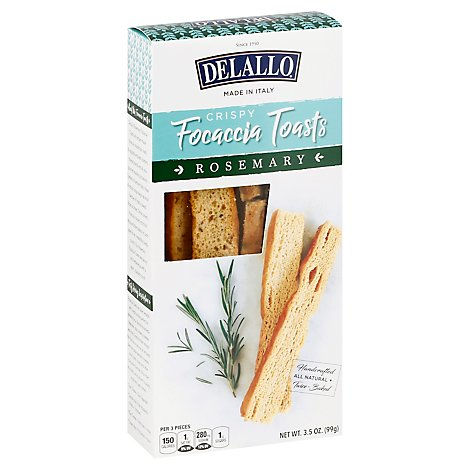 Delallo Focaccia Toasts Rosemary - 3.5 Oz