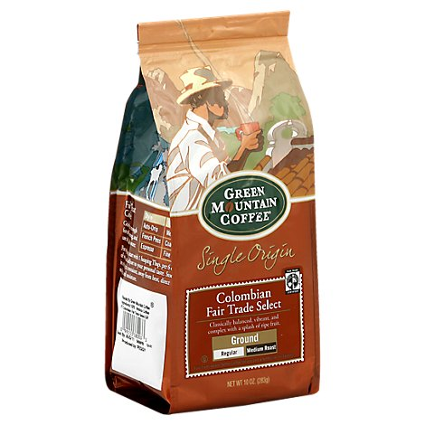 Green Mountain Coffee Ground Medium Roast Single Origin Colombia Select Bag -10 Oz