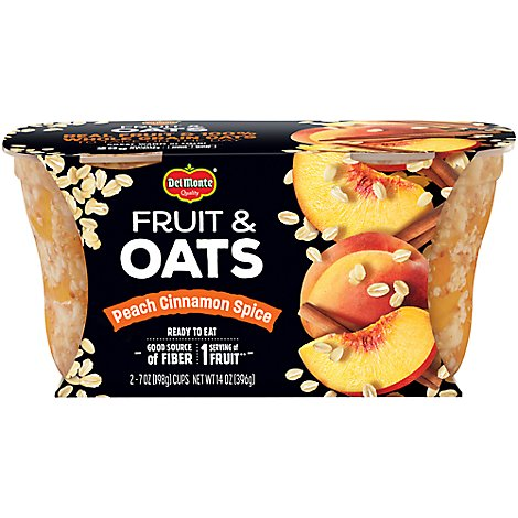 Del Monte Fruit & Oats Peach Cinnamon Spice Cups - 2-7 Oz