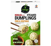 Bibigo Dumplings Steamed Korean Style Pork & Vegetable - 6.6 Oz