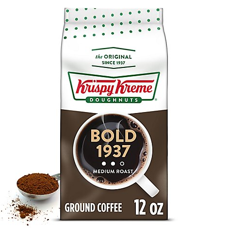 Krispy Kreme Doughnuts Coffee Ground Medium Roast Bold 1937 - 12 Oz