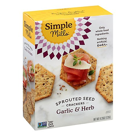 Simple Mills Crackers Sprouted Seed Garlic & Herb Box - 4.25 Oz