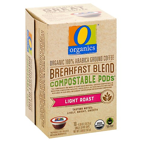 O Organics Organic Coffee Pod Breakfast Blend Comp - 10 Count