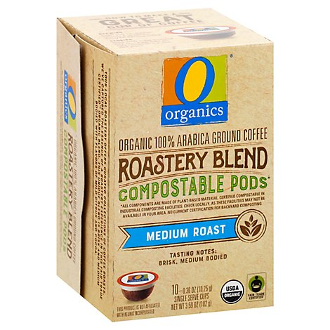 O Organics Organic Coffee Pod Roastery Blend Comp - 10 Count