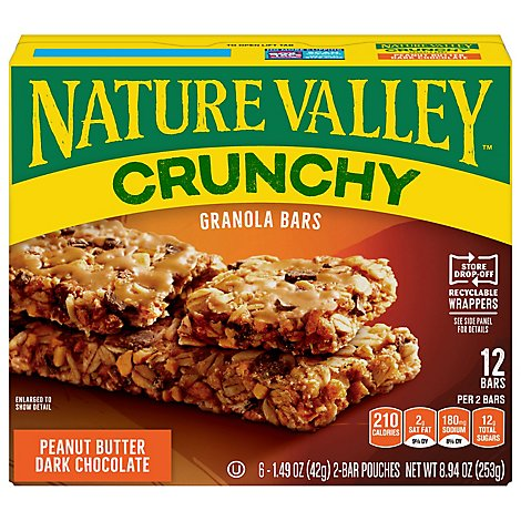 Nature Valley Granola Bars Crunchy Peanut Butter Dark Chocolate - 6-1.49 Oz