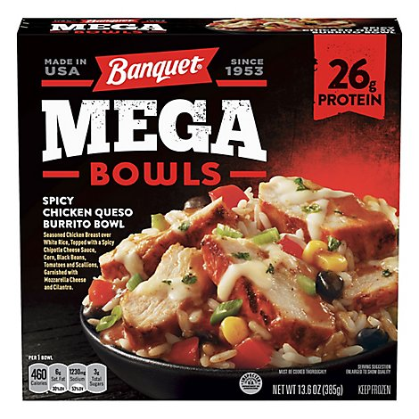 Banquet Meal Mega Bowls Chicken Queso Burrito Bowl Box - 13.6 Oz