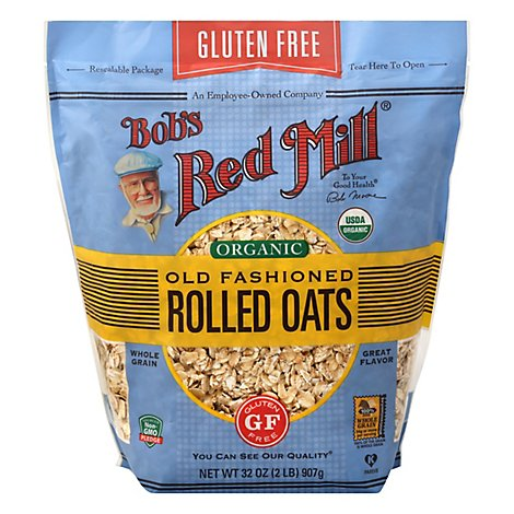 Bobs Red Mill Rolled Oats Gluten Free Organic Old Fashioned - 32 Oz